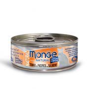 Monge Natural Yellowfin Tuna with Salmon натуральный тихоокеанский тунец с лососем для кошек, супер премиум качества 80 гр