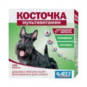Косточка-мультивитамин, добавка минерально-витаминная для собак, 100 табл.