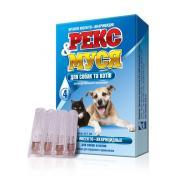 Рекс&Муся капли для собак и кошек инсектоакарицидные от блох, иксодовых и чесоточных клещей, вшей, власоедов, 1 пипетка-капельница