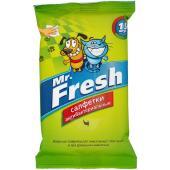 Mr.Fresh влажные антибактериальные салфетки для собак и кошек, 15 шт.