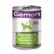 Gemon Sterilized Rabbit полнорационный корм с кусочками кролика для стерилизованных кошек и кастрированных котов, 415 гр