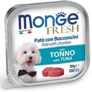 Monge Fresh нежные кусочки в паштете с тунцом для собак, супер премиум качества