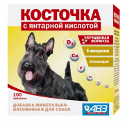 Косточка-витамин, добавка минерально-витаминная с янтарной кислотой для собак, 1 таб.