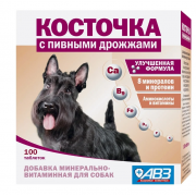Косточка, добавка минерально-витаминная с пивными дрожжами для собак, 1 таб.
