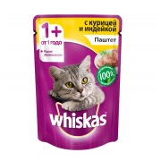 Whiskas паштет курица с индейкой 85 гр