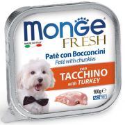 Monge Fresh нежные кусочки в паштете с индейкой для собак, супер премиум качества 100 гр