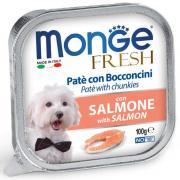 Monge Fresh нежные кусочки в паштете с лососем для собак, супер премиум качества 100 гр