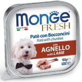 Monge Fresh нежные кусочки в паштете с ягненком для собак, супер премиум качества 100 гр
