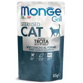 Monge Grill Sterilized Rich in Trout полнорационный корм для стерилизованных кошек и кастрированных котов, с кусочками итальянской форелью в желе, премиум качества 85 гр