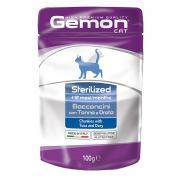 Gemon Sterilized Tuna and Dory полнорационный корм для стерилизованных кошек и кастрированных котов, с кусочками тунца и рыбой дори, высокого премиального качества 100 гр