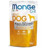 Monge Grill Adult Rich in Chicken полнорационный корм для взрослых собак, с запеченными кусочками на основе курицы и индейки, супер премиум качества 100 гр