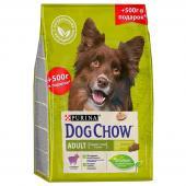 Dog Chow корм для собак старше 1 года с ягненком 2.5 кг + 500 г