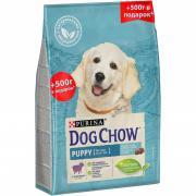 Dog Chow корм для щенков всех пород до 1 года с ягненком 2.5 кг + 500 г