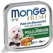 Monge Fresh нежные кусочки в паштете с курицей и овощвми для собак, супер премиум качества, 100 г