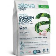 Alleva Holistic Hairball Chicken & Duck Полнорационный сухой корм для взрослых кошек, склонных к образованию комков шерсти и длинношерстных пород с курицей, уткой, сахарным тростником и алоэ вера, 1,5 кг