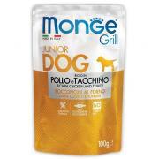 Monge Grill Puppy&Junior полнорационный корм для щенков с запеченными кусочками на основе курицы и индейки, супер премиум качества 100 гр