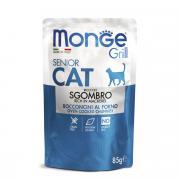 Monge Grill Senior Cat полнорационный корм для пожилых кошек, с кусочками эквадорской макрели, 85 г