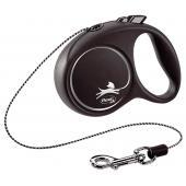 Flexi Black Design M Cord 5 m тросовый поводок-рулетка длиной 5 м для собак весом до 20 кг (серебристый)