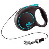 Flexi Black Design S Cord 5 m тросовый поводок-рулетка длиной 5 м для собак весом до 12 кг (голубой)