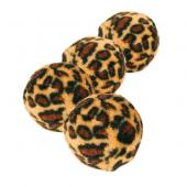 """Trixie игрушка для кошек """"Мяч леопард"""" пластик, покрытый плюшем с колокольчиком, 4 шт (3,5 см)"""