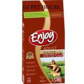 Enjoy Adult Dog сухой корм для взрослых собак всех пород со вкусом ягненка и риса (целый мешок 15 кг)