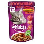 Whiskas аппетитный микс, с домашней птицей и говядиной в томатном желе 85 г