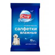 Cliny салфетки влажные для собак и кошек, 10 шт.