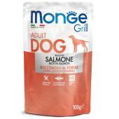 Monge Grill Adult Rich in Salmon полнорационный корм для взрослых собак, с запеченными кусочками на основе лосося, супер премиум качества 100 гр