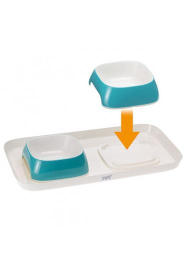 Ferplast Glam Tray S Light Blue пластиковый поднос с мисками для кошек и собак, 40 x 23 x 5,5 см, 0,8 л