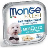 Monge Fresh нежные кусочки в паштете с треской для собак, супер премиум качества 100 гр
