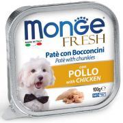 Monge Fresh нежные кусочки в паштете с курицей для собак, супер премиум качества 100 гр