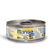 Monge Natural Tuna and Chicken with Corn натуральный тунец и куриная грудка с кукурузой для кошек, супер премиум качества 80 гр