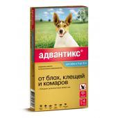 Advantix капли на холку для собак весом от 4 до 10 кг, 1 тюбик-пипетка 1,0 мл