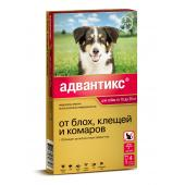 Advantix капли на холку для собак весом от 10 до 25 кг, 1 тюбик-пипетка 2,5 мл