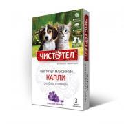 Капли Чистотел Максимум от блох и клещей для щенков и котят, 3 тюбик-пипетки