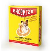Инсектал капли от блох и клещей для кошек и собак от 2 до 4 кг