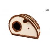 Домик-мышка для кошек с когтеточкой, 45×25×30 см