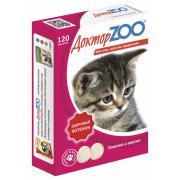 ДокторZOO полезное и вкусное лакомство для котят с кальцием, фосфором и витамином Д3, 120 табл.