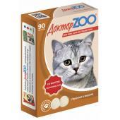 ДокторZOO полезное и вкусное лакомство с биотином для кошек со вкусом копченостей, 90 табл.