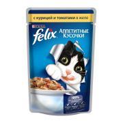 Felix аппетитные кусочки с курицей и томатами в желе