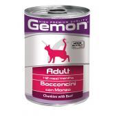 Gemon Adult Beef полнорационный корм с кусочками телятины для взрослых кошек, 415 гр