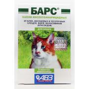 Барс капли для кошек инсектоакарицидные от блох, иксодовых и чесоточных клещей, вшей, власоедов,1 пипетка