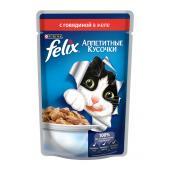 Felix аппетитные кусочки с говядиной в желе, 85 г