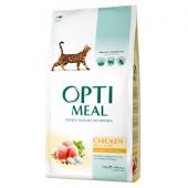 Opti meal сухой корм для взрослых кошек с курицей (целый мешок 10 кг)